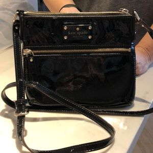 Black patent leather Kate Spade crossbody bag